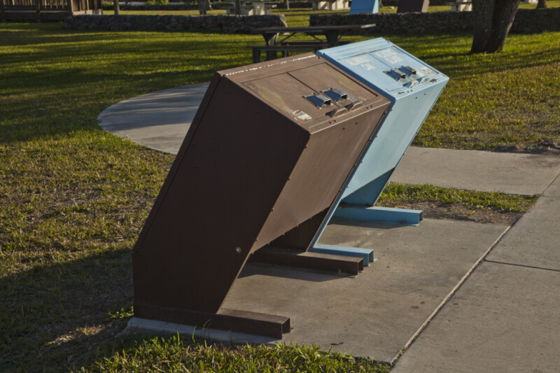 Recycle Bins at H.P. Williams Roadside Park of Big Cypress National Preserve
