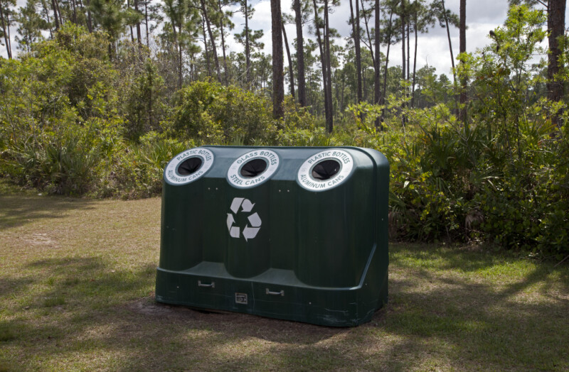 Recycling Bin at Long Pine Key of Everglades National Park