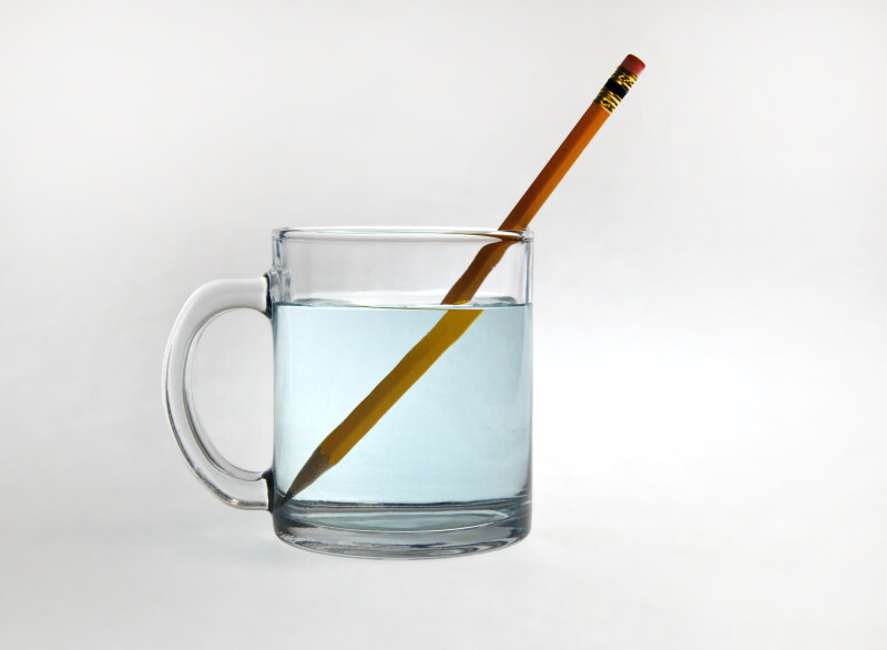 Refraction of Pencil in Cup of Water