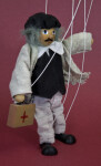 Romania Handcrafted Marionette Made with Wood, Cloth, and Strings (Profile View)