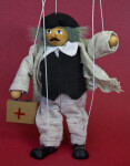 Romania Male Marionette with Wooden Case That Has a Red Cross (Full View)