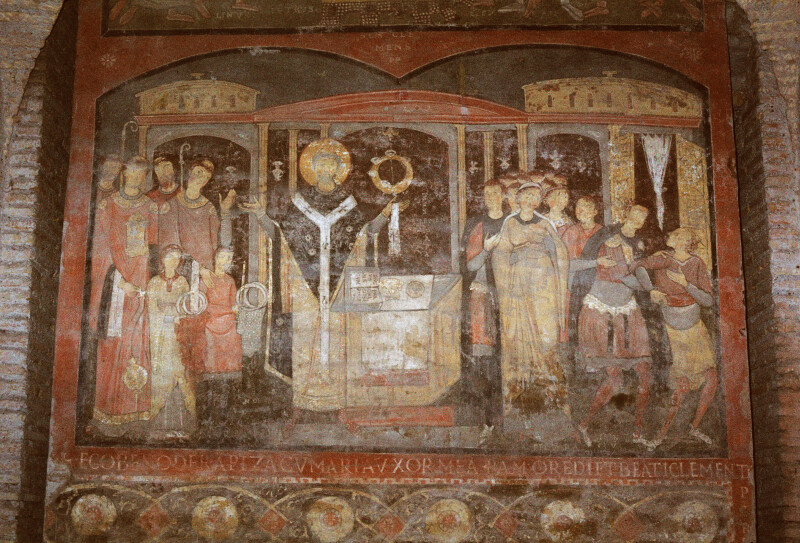 Rome, San Clemente, Lower Church, Fresco, The Mass of St. Clement