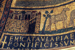 Rome, Santa Prassede, apse mosaic, procession of lambs, city of Bethlehem, inscription
