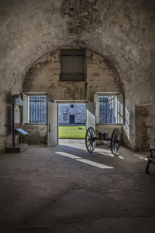 Room of the Castillo de San Marcos Containing a Small Cannon on Wheels