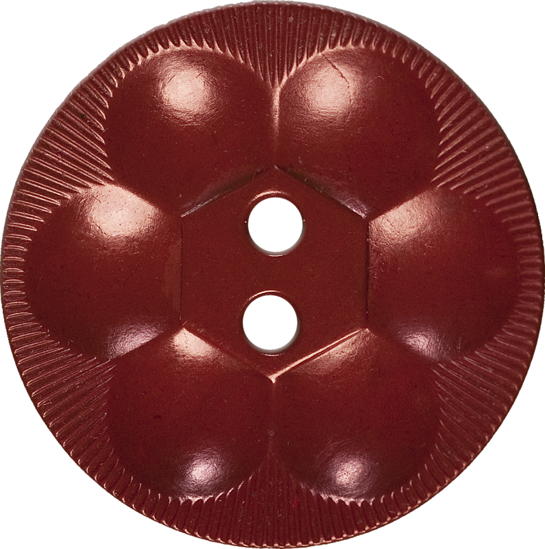 Rosette Button with Six Circles, Brick Red