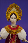Russia Female Doll in a Russian National Costume and Headdress  (Close Up)