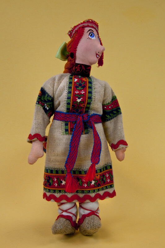Russia Handmade Female Doll in Burlap Dress and Brocade Hat (Full View)