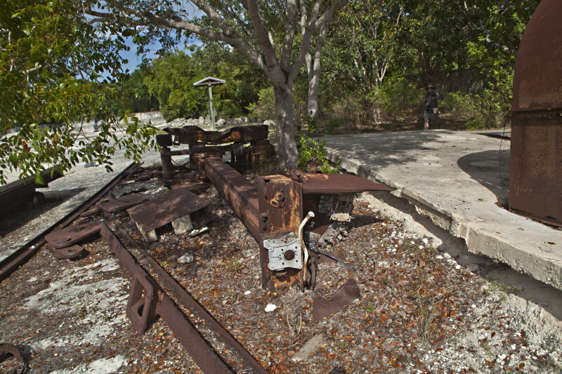 Rusted Machinery Near Trees at Windley Key Fossil Reef Geological State Park