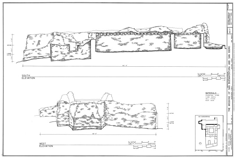 San Buenaventura South and West Elevation Drawings