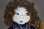 Scotland Gaelic Girl Doll with Printed Fabric Face and Yarn Hair (Close Up)