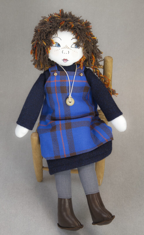 Scotland Doll Hand Made Girl Made from Cloth and Wearing a Tartan (Full View)
