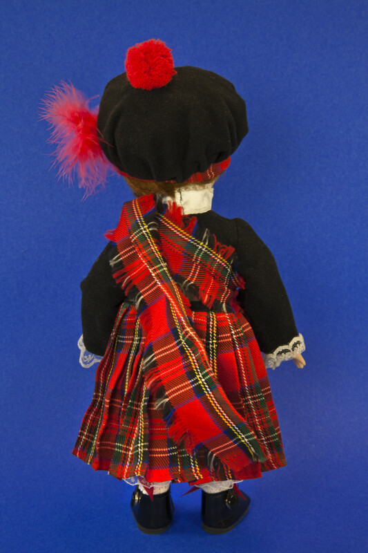 Scotland Male Porcelain Doll in Traditional Scottish Highland Costume (Back View)