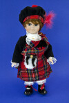Scotland  Scottish Lad in Red Plaid Tartan, Kilt, and Sporran (Full View)