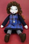 Scotland Scottish Lass Made from Fabric in Seated Position with Leather Boots (Full View)