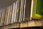 Screen Racks in a print shop.