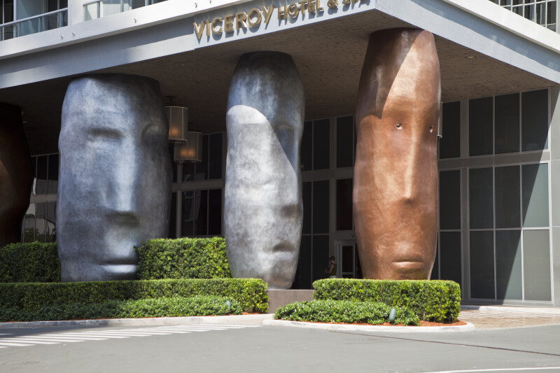 Sculpted Columns at a Hotel