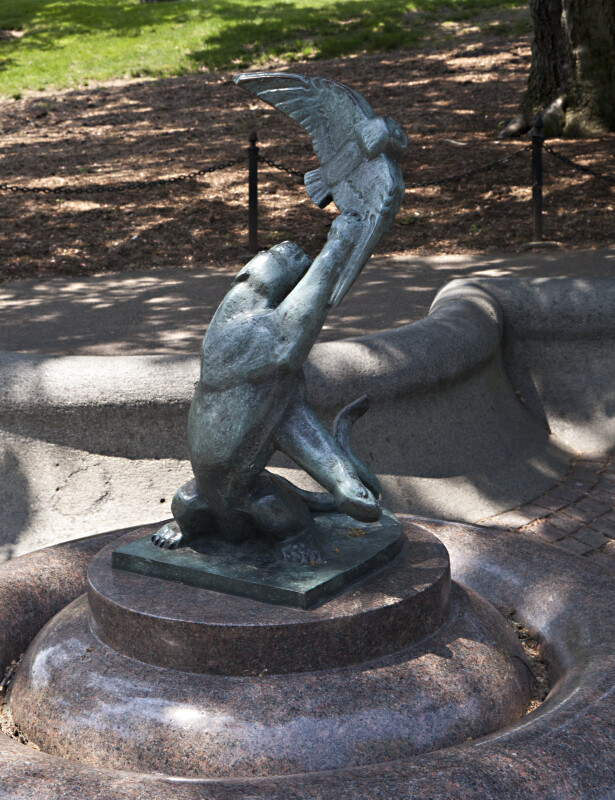 Sculpture of a Lion Swiping at an Eagle