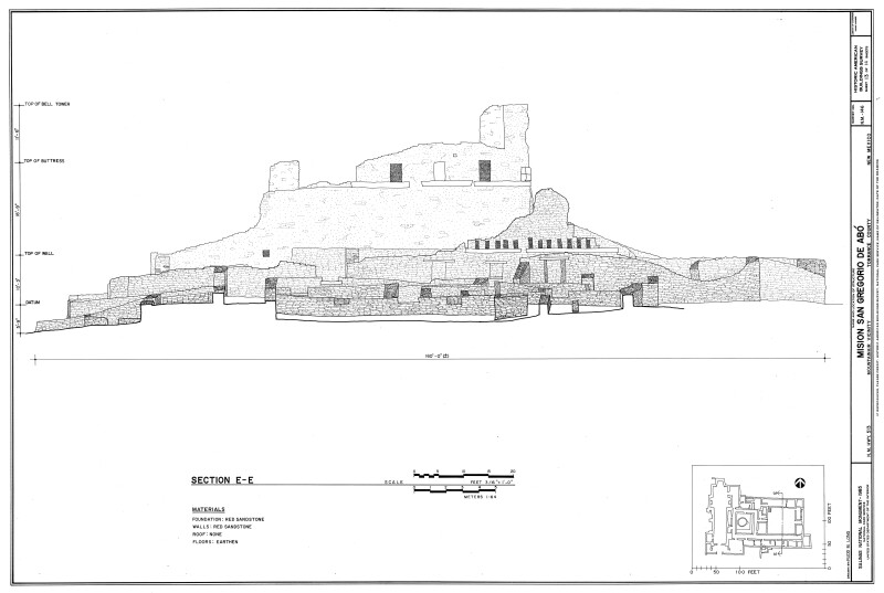 Section Drawing of Convento at Mission of San Gregoiro de Abó