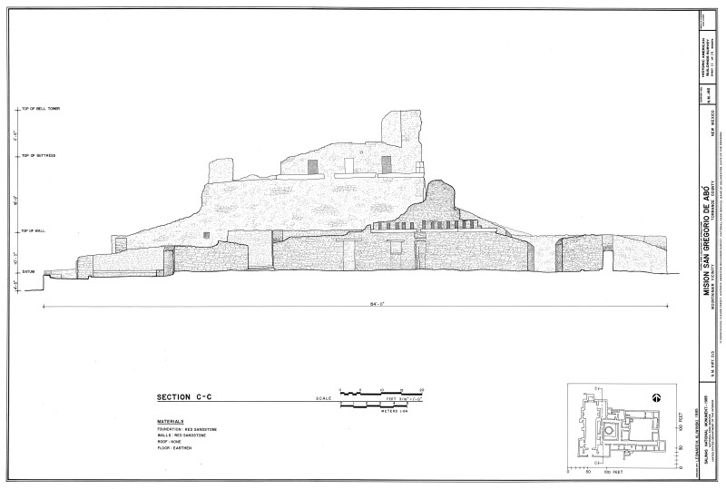 Section Drawing of Mission of San Gregoiro de Abó