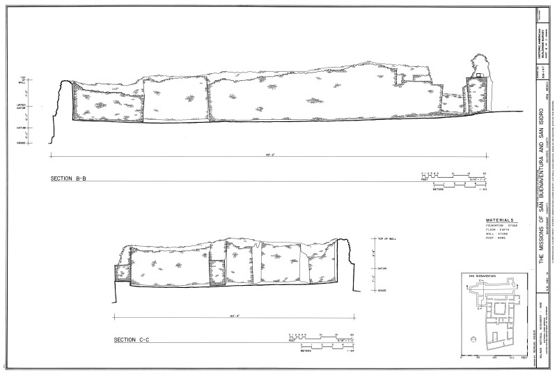 Section Drawings across the Nave and Sacristy of San Buenaventura