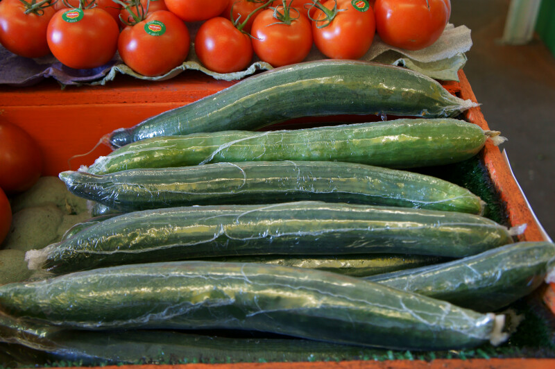Seedless Cucumbers Wrapped in Plastic
