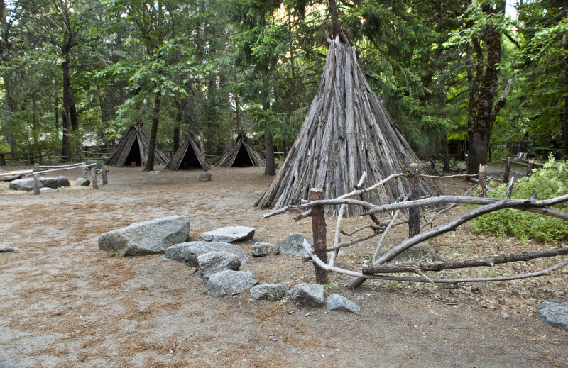 Several Bark Houses at Ahwahnee Village