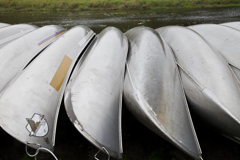 Shiny Metal Canoes at Myakka River State Park