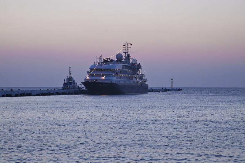 Ship in the Aegean Sea at Dusk