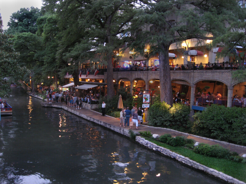 Shoppers by River