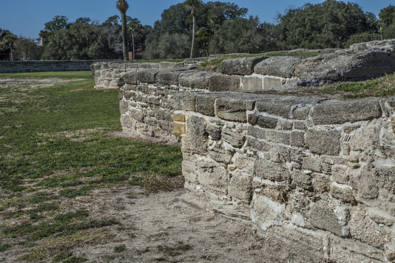 Short Walls Made of Coquina at Castillo de San Marcos