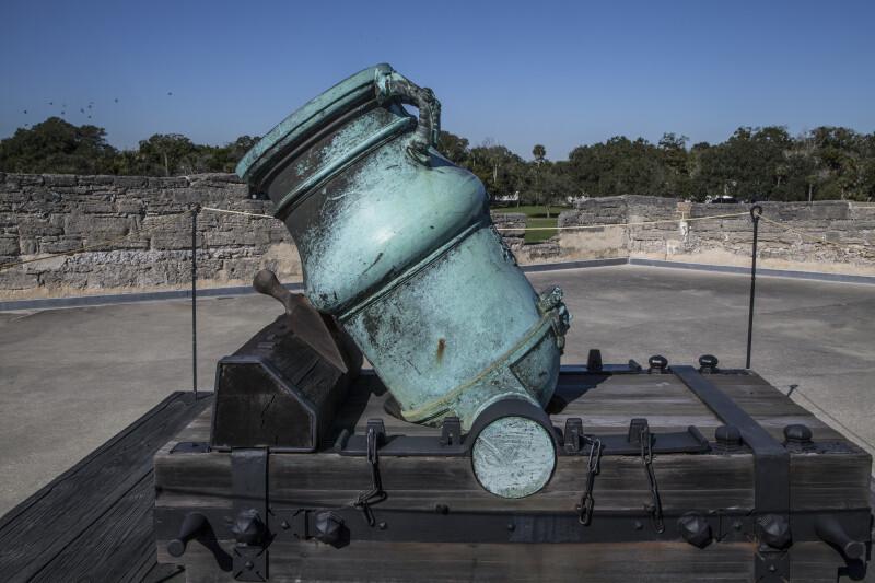 Side View of a Bronze, Oxidized Mortar on the Terreplein of Castillo de San Marcos