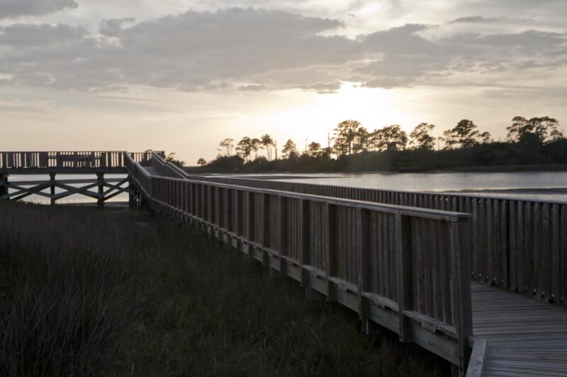 Side View of a Wooden Boardwalk