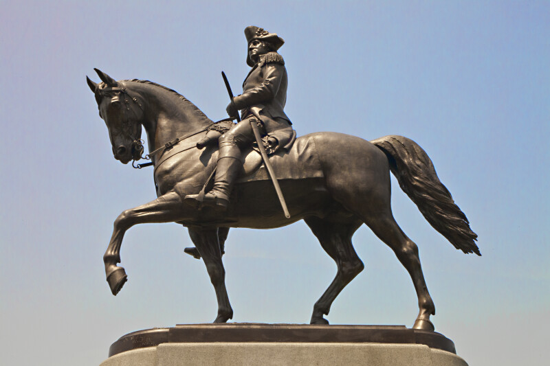Side View of the Equestrian Statue of George Washington at the Boston Public Garden