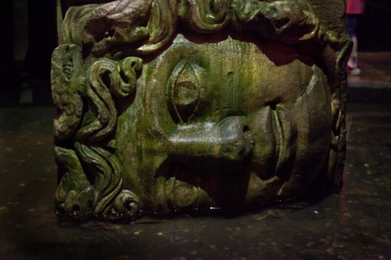 Sideways Head of Medusa at the Basilica Cistern