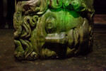 Sideways Head of Medusa in Shallow Water at the Basilica Cistern