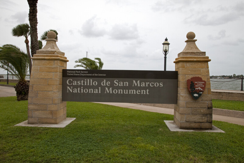 Signage at the Entrance to Castillo de San Marcos National Monument