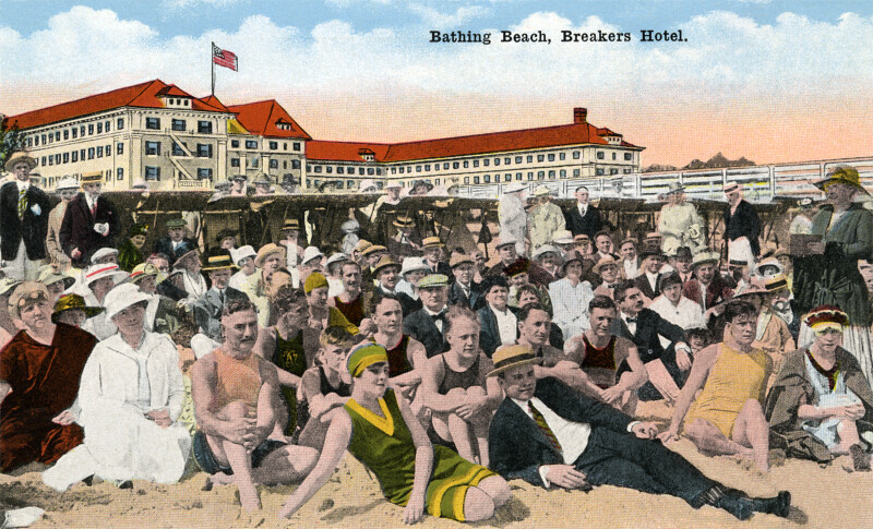 Sitting on the Bathing Beach at the Breakers Hotel