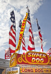 Skinny Flags Attached to Top of Hot Dog Stand