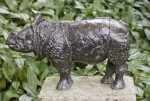 Small Rhinoceros Bronze on Display at the Artis Royal Zoo