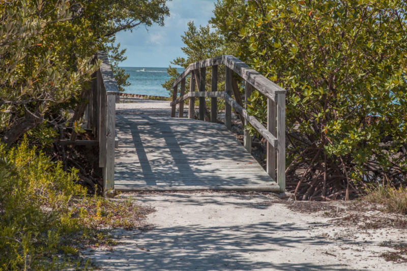 Small, Wooden Bridge Leading to Beach