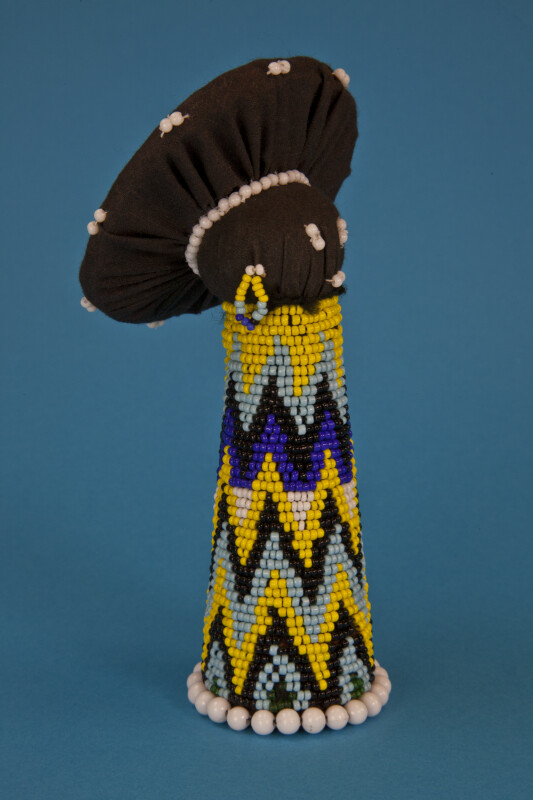 South Africa Cardboard Cone-Shaped Female Doll Covered with Beads (Three Quarter View)