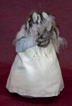 South Dakota Native American Doll Wearing Feather Headdress and Leather Blanket (Back View)