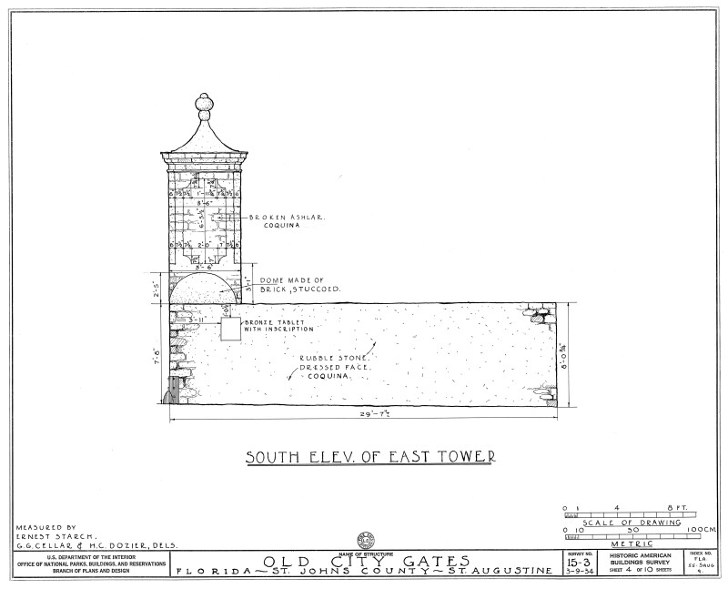 South Elevation Drawing of the East Tower
