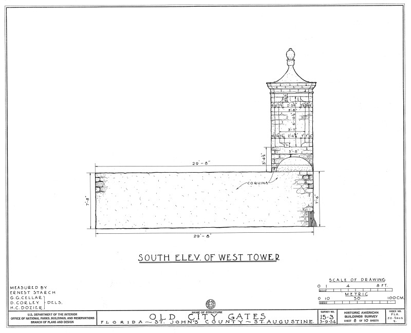South Elevation Drawing of the West Tower