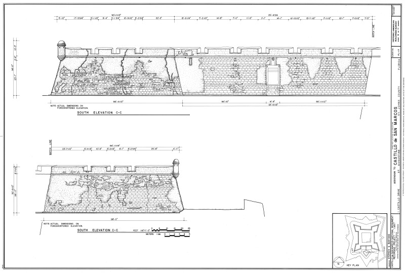 South Exterior Elevation Drawing of the Castillo de San Marcos, 1987