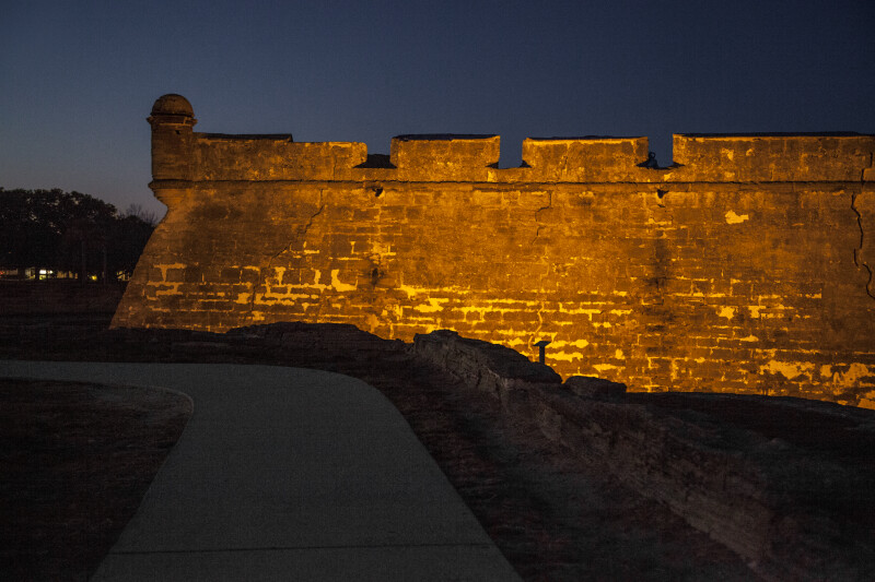 Southwest Wall of Castillo de San Marcos at Nighttime