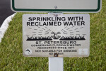 Sprinkiing with Reclaimed Water Sign
