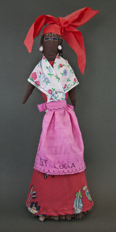 St. Lucia Female Broom Doll Made with Palm Leaves and Cotton Material (Full View)