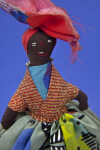 St. Lucia Hand Made Stuffed Lady Doll with Head Scarf and Bead Earrings(Close Up)