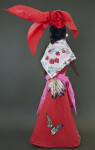St. Lucia Handcrafted Doll with Yarn Hair Cotton Shawl and Long Skirt (Back View)